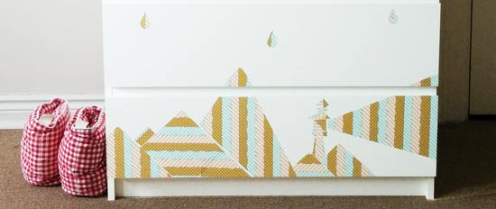 Ikea Malm chest with washi tape design