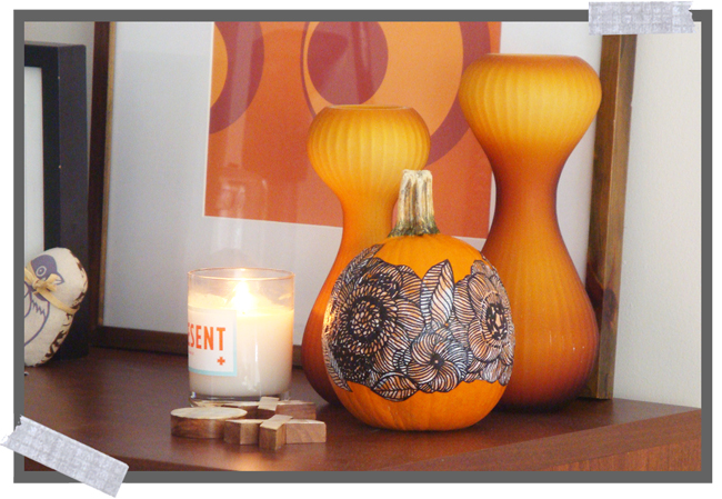 Decoupage a real pumpkin